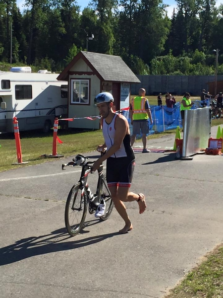 Shannon Fore heading out of T1 in the lead.